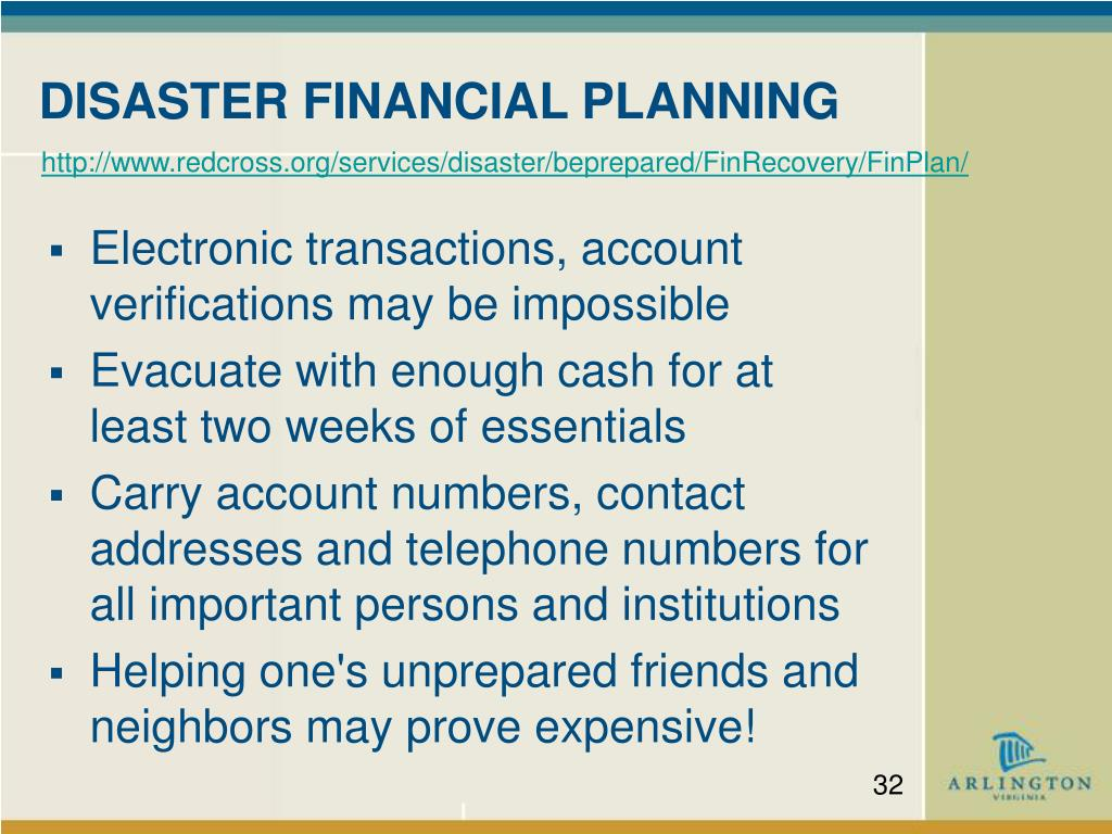 DISASTER FINANCIAL PLANNING