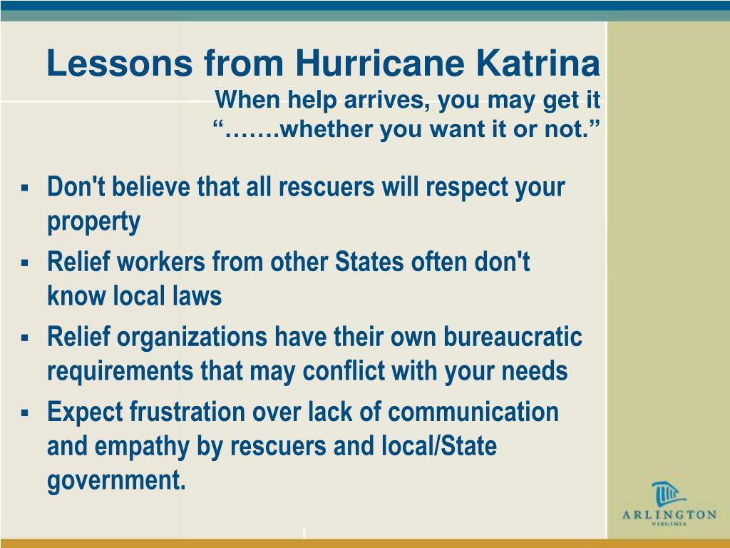 Lessons from Hurricane Katrina