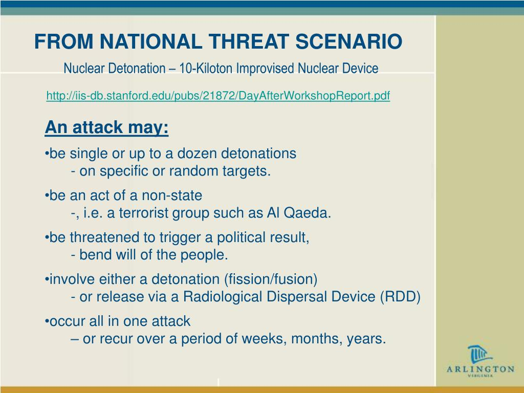 FROM NATIONAL THREAT SCENARIO