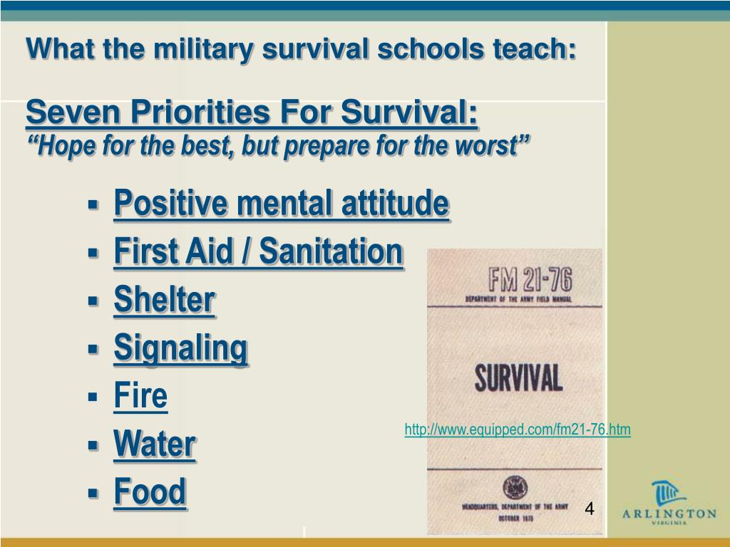 What the military survival schools teach: