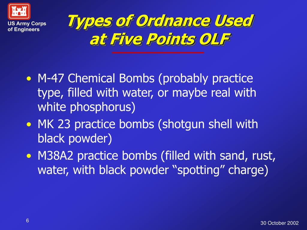 Types of Ordnance Used at Five Points OLF