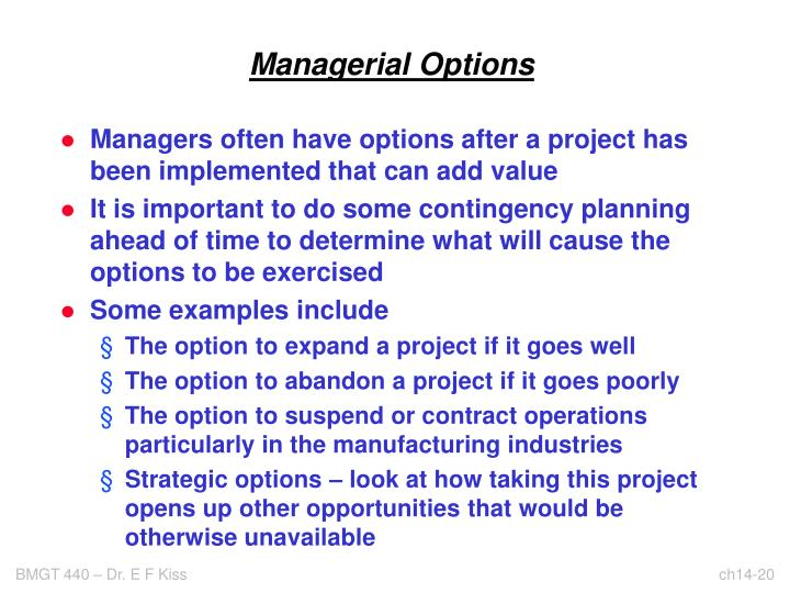 Managerial Options