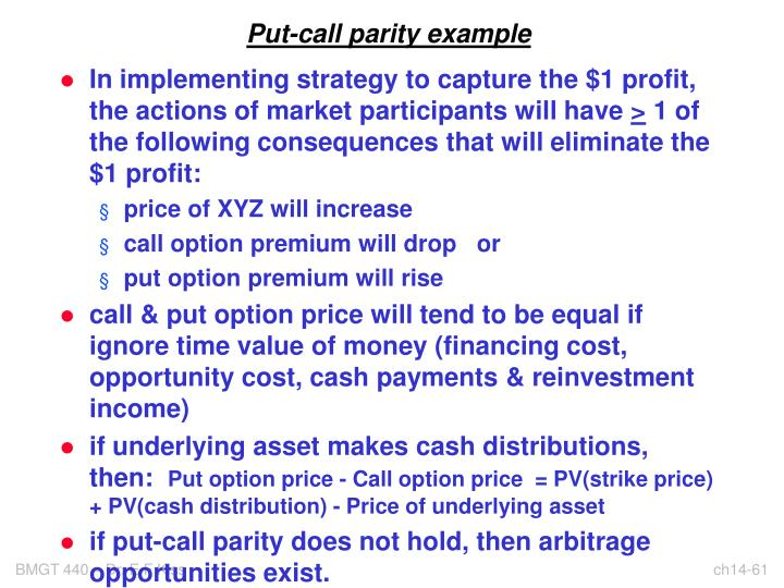 Put-call parity example