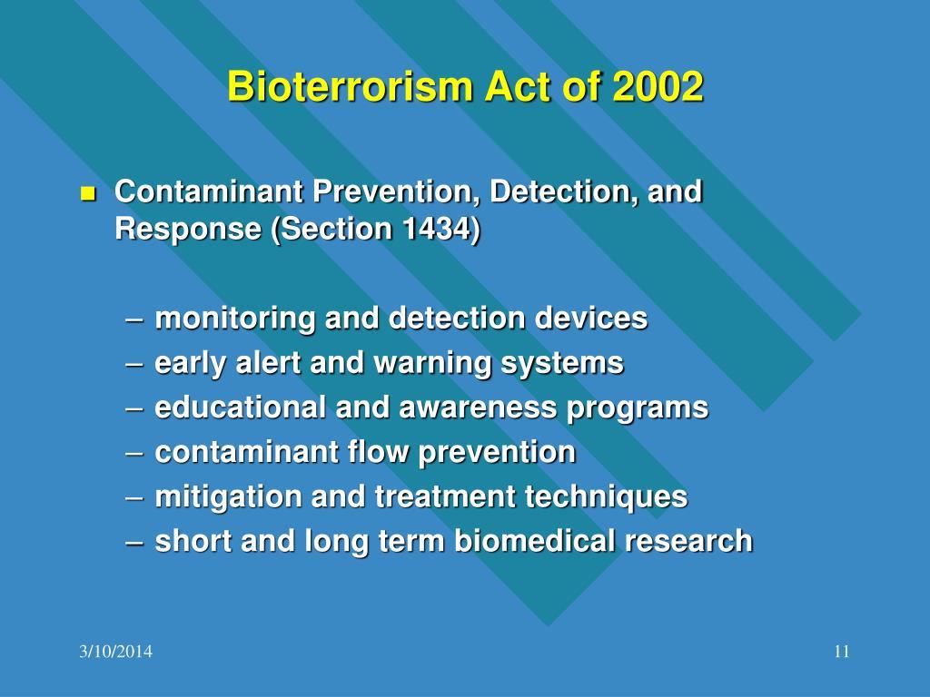 Bioterrorism Act of 2002