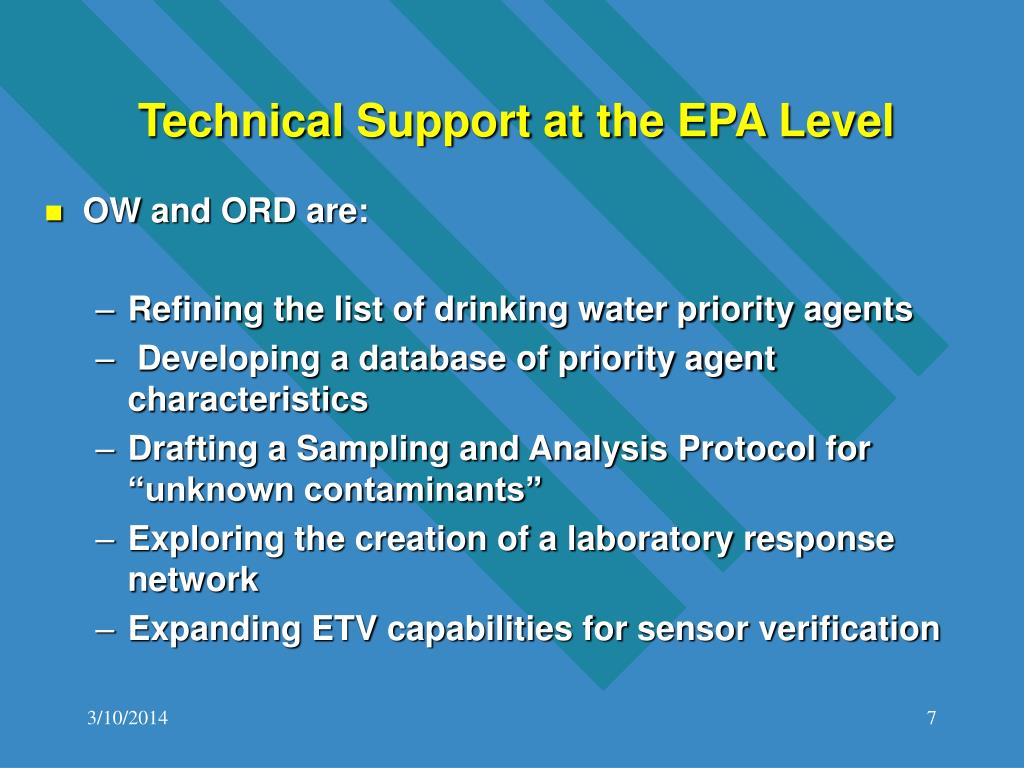 Technical Support at the EPA Level