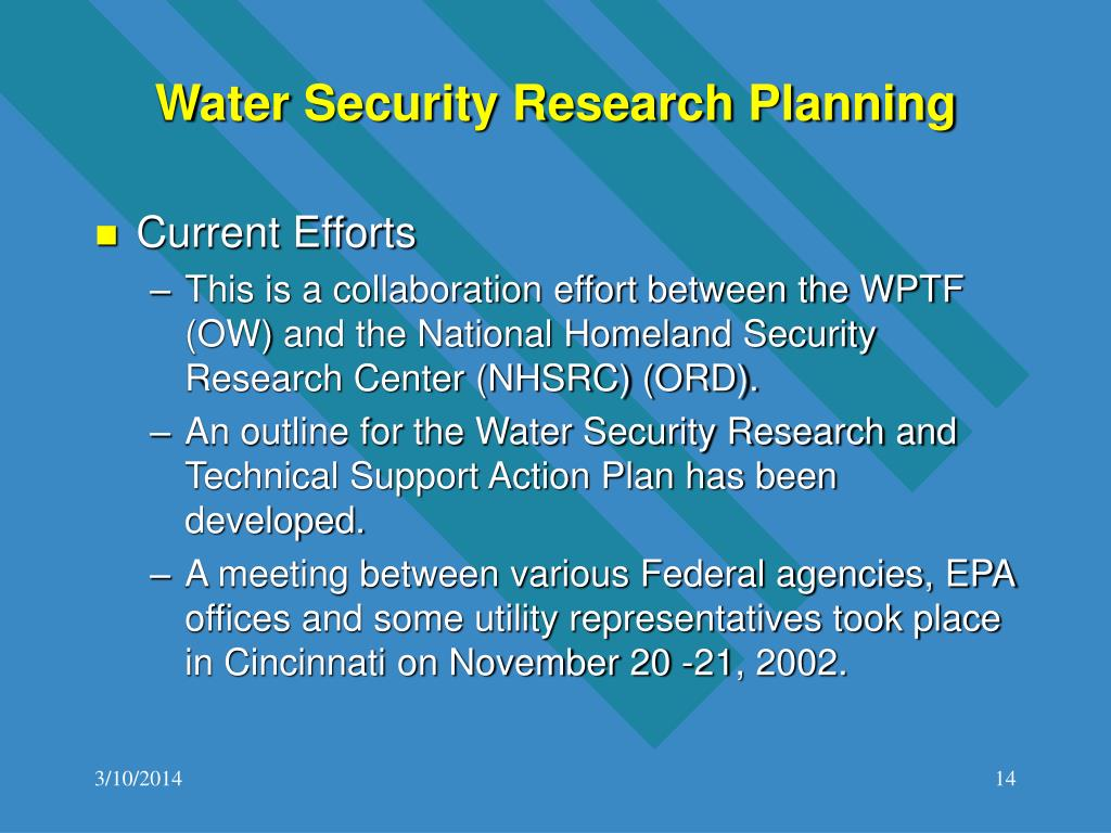 Water Security Research Planning