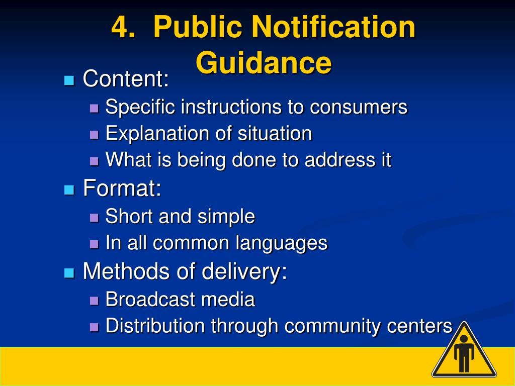 4.  Public Notification Guidance