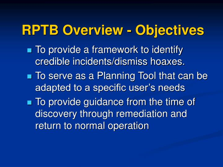 Rptb overview objectives