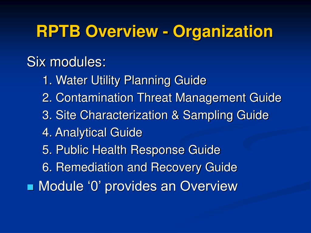 RPTB Overview - Organization