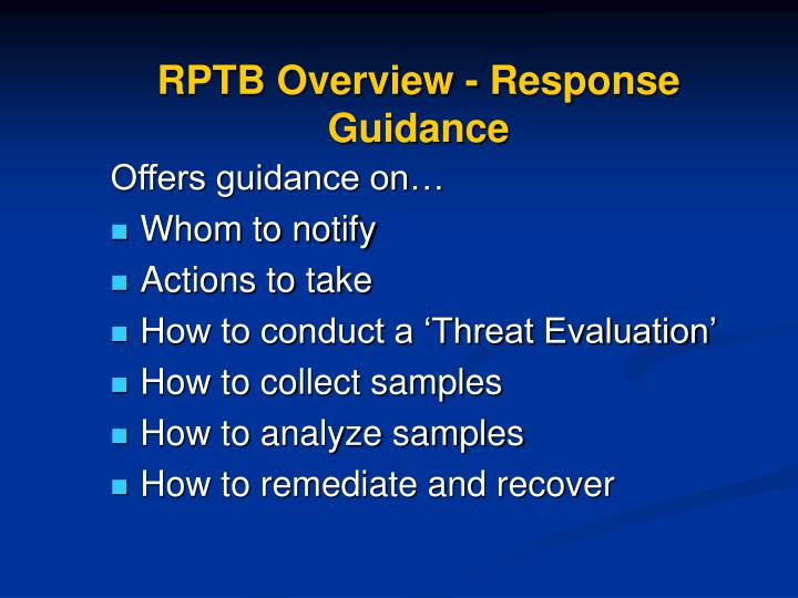 Rptb overview response guidance