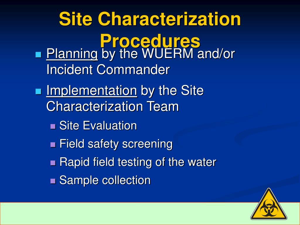 Site Characterization Procedures