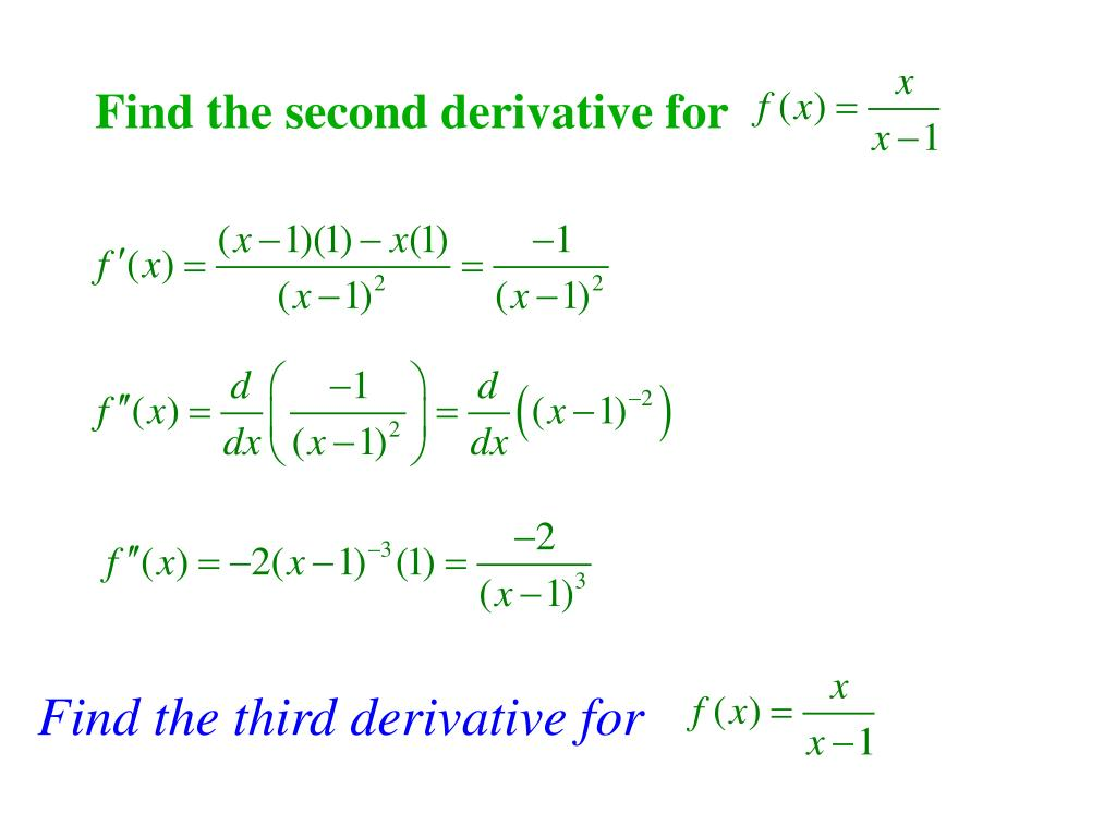 Find the second derivative for