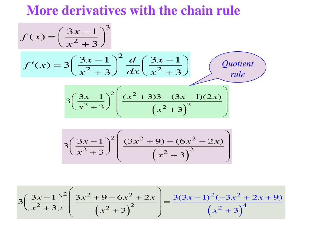 More derivatives with the chain rule
