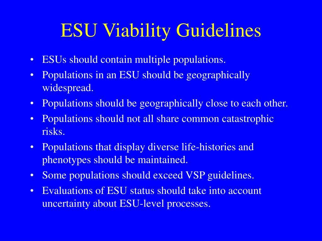 ESU Viability Guidelines