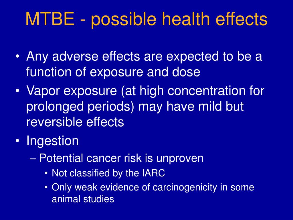 MTBE - possible health effects