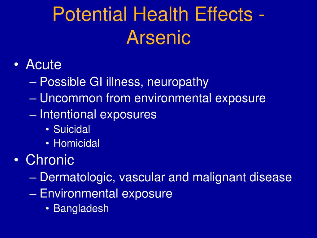 Potential Health Effects - Arsenic