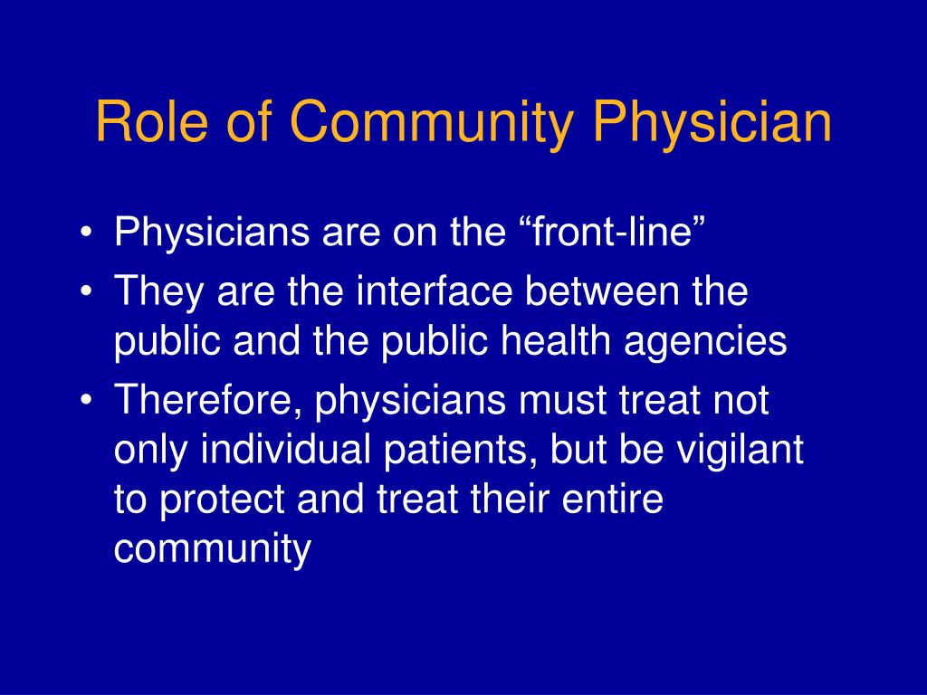 Role of Community Physician