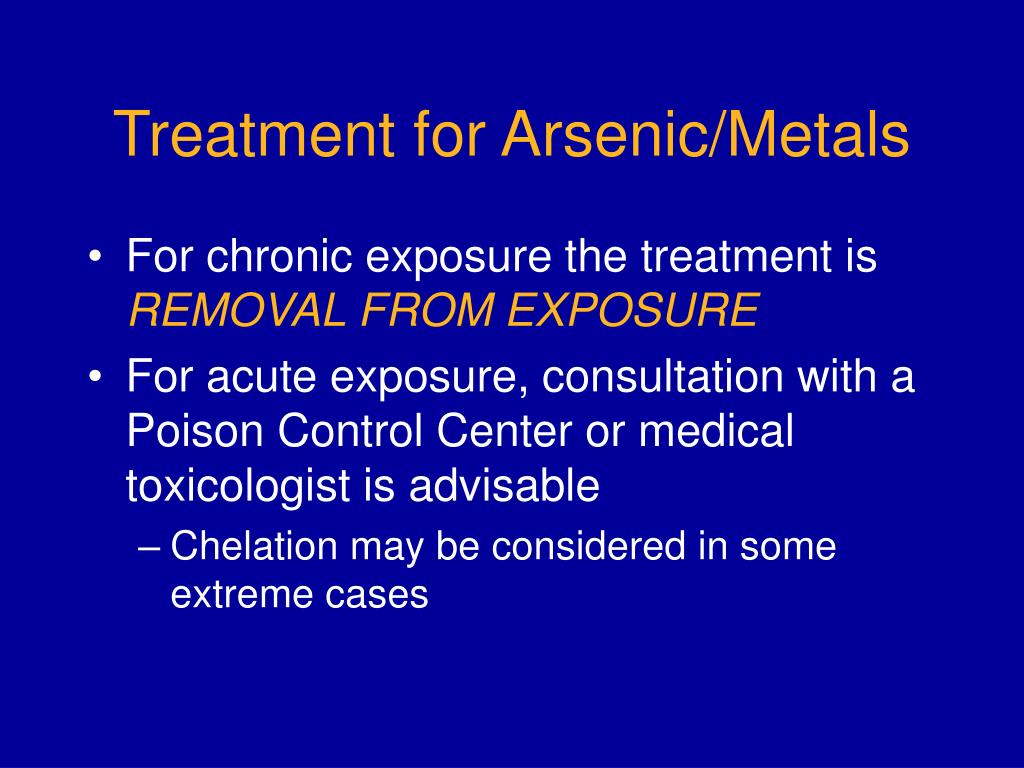 Treatment for Arsenic/Metals