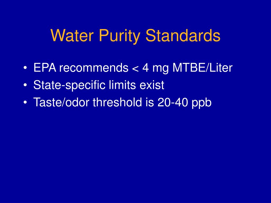 Water Purity Standards