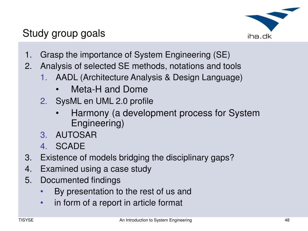 Study group goals