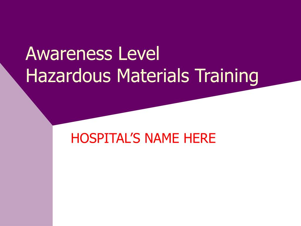 awareness level hazardous materials training