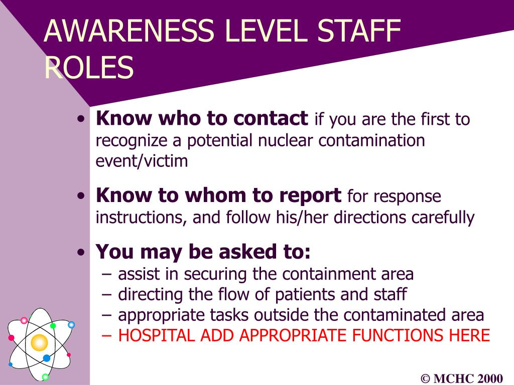 AWARENESS LEVEL STAFF ROLES