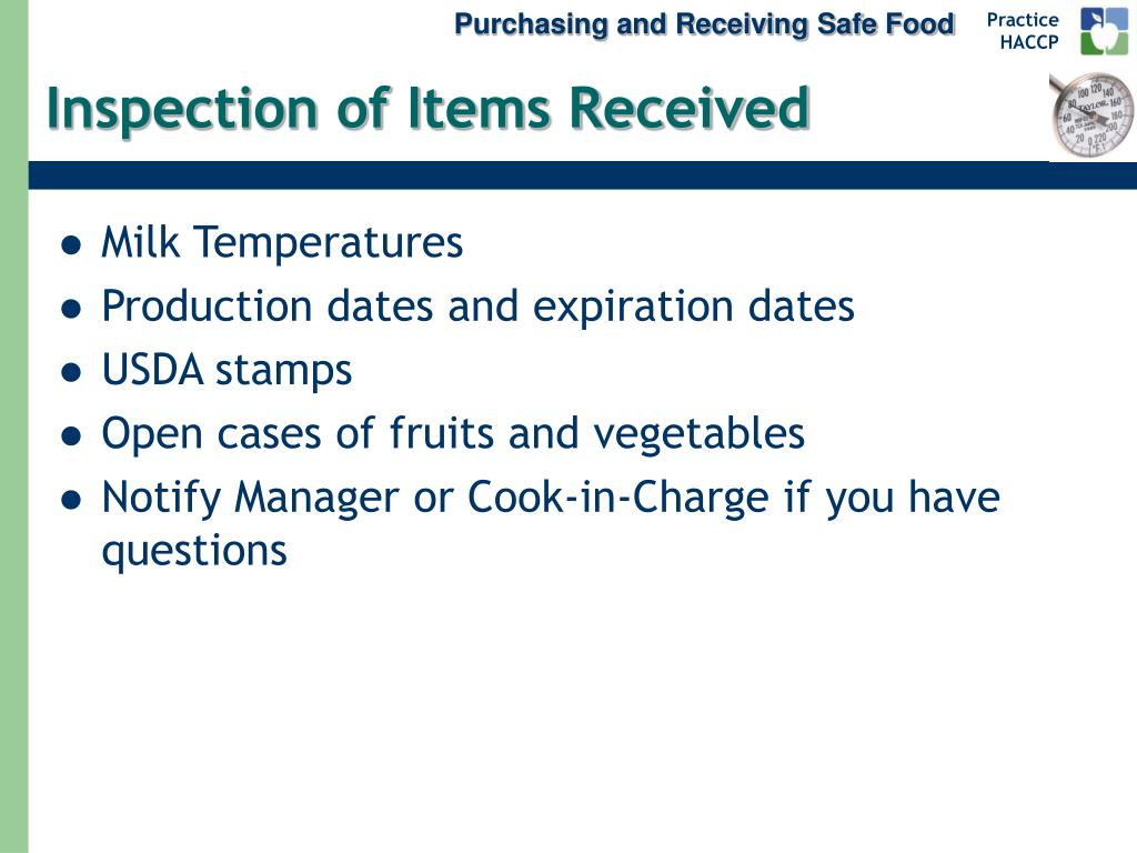 Purchasing and Receiving Safe Food