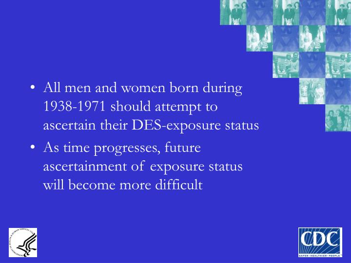 All men and women born during 1938-1971 should attempt to ascertain their DES-exposure status