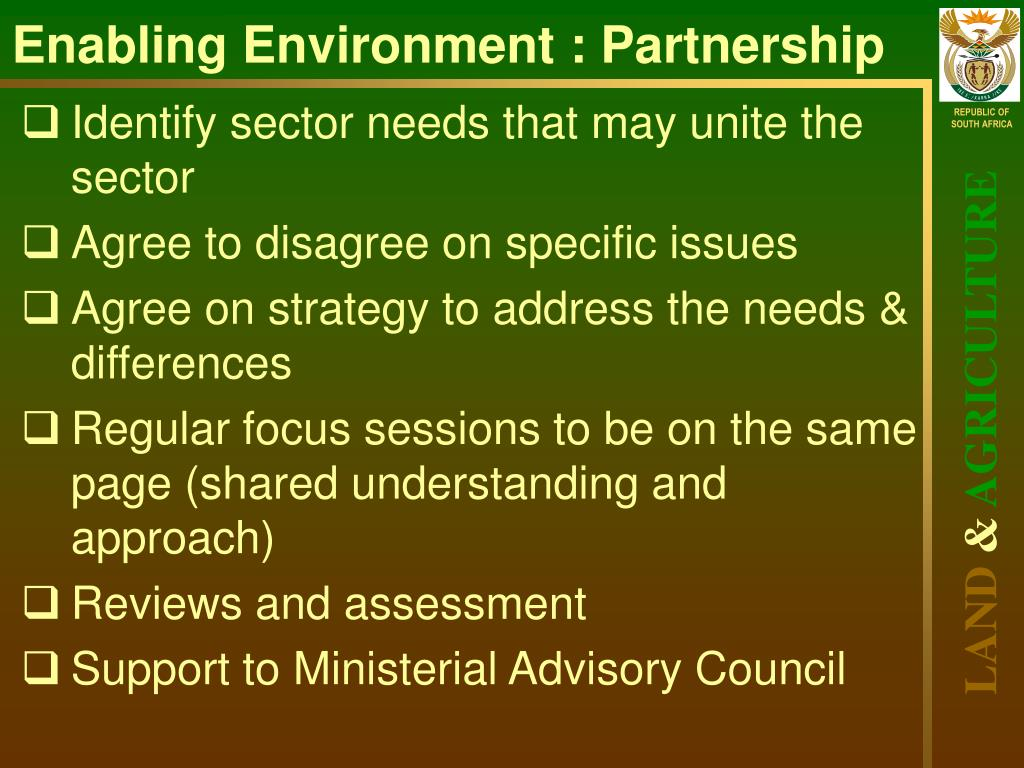 Enabling Environment : Partnership