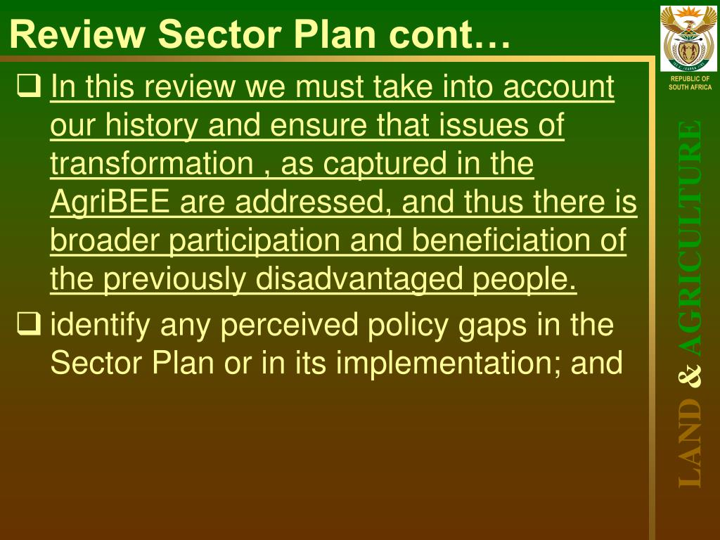 Review Sector Plan cont…