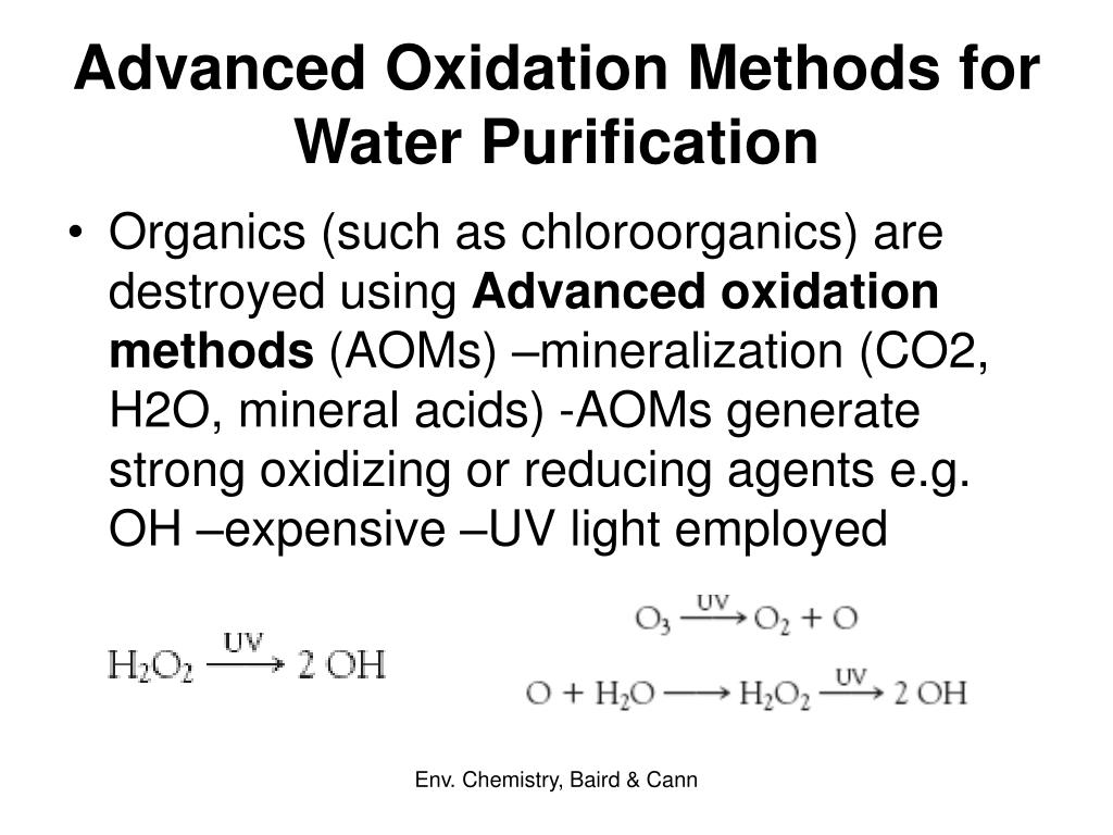 Advanced Oxidation Methods for Water Purification
