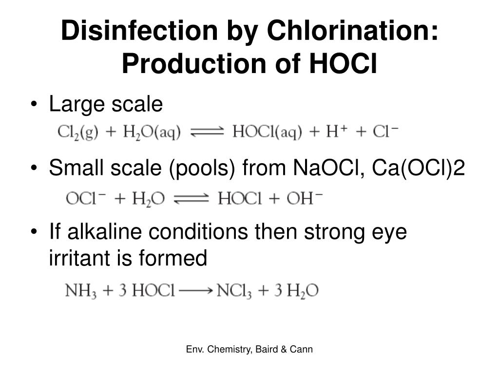 Disinfection by Chlorination: Production of HOCl