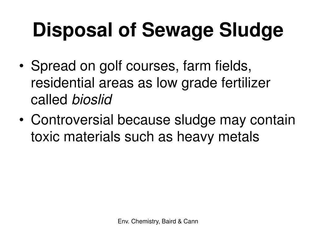 Disposal of Sewage Sludge