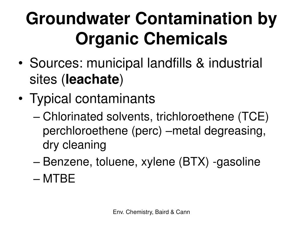 Groundwater Contamination by Organic Chemicals