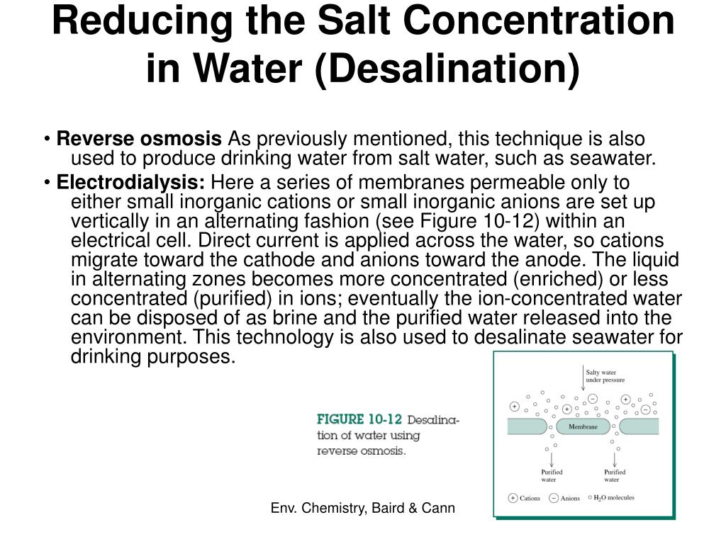 Reducing the Salt Concentration in Water (Desalination)