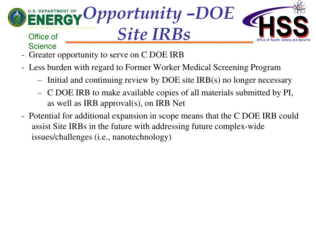 Opportunity –DOE Site IRBs