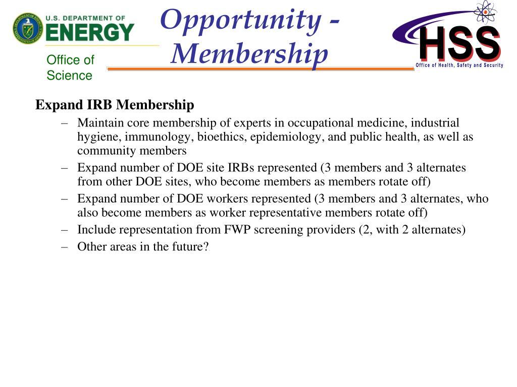 Opportunity - Membership