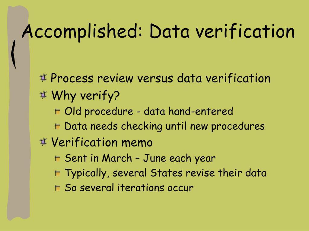Accomplished: Data verification