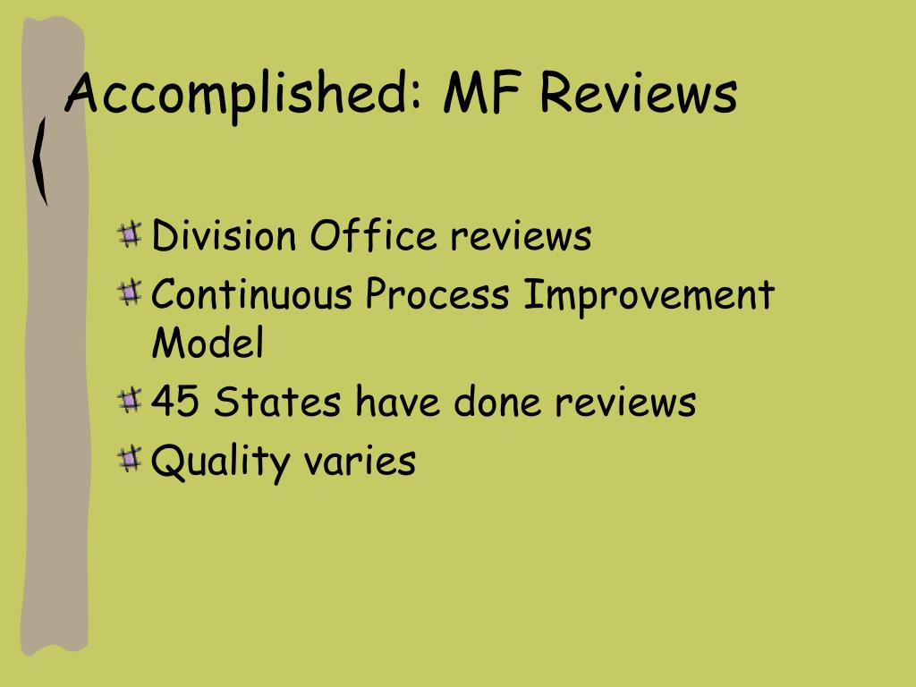 Accomplished: MF Reviews