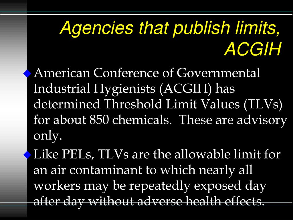 Agencies that publish limits, ACGIH
