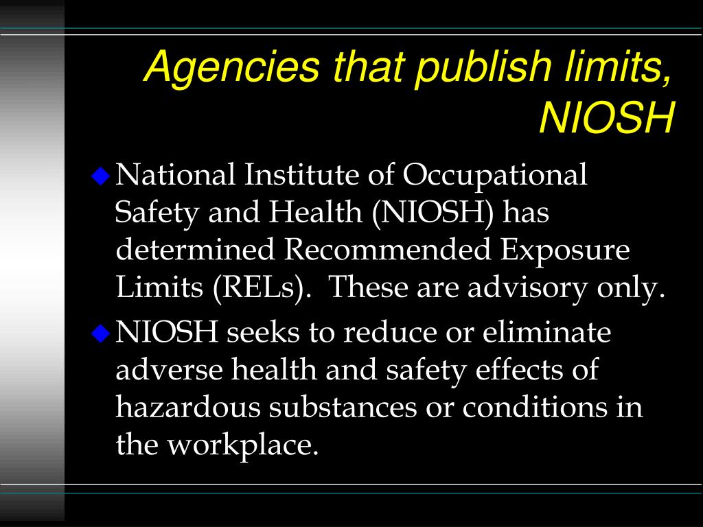 Agencies that publish limits, NIOSH
