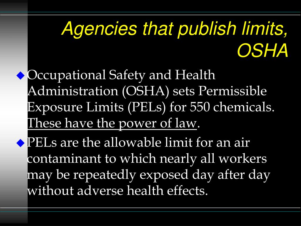 Agencies that publish limits, OSHA