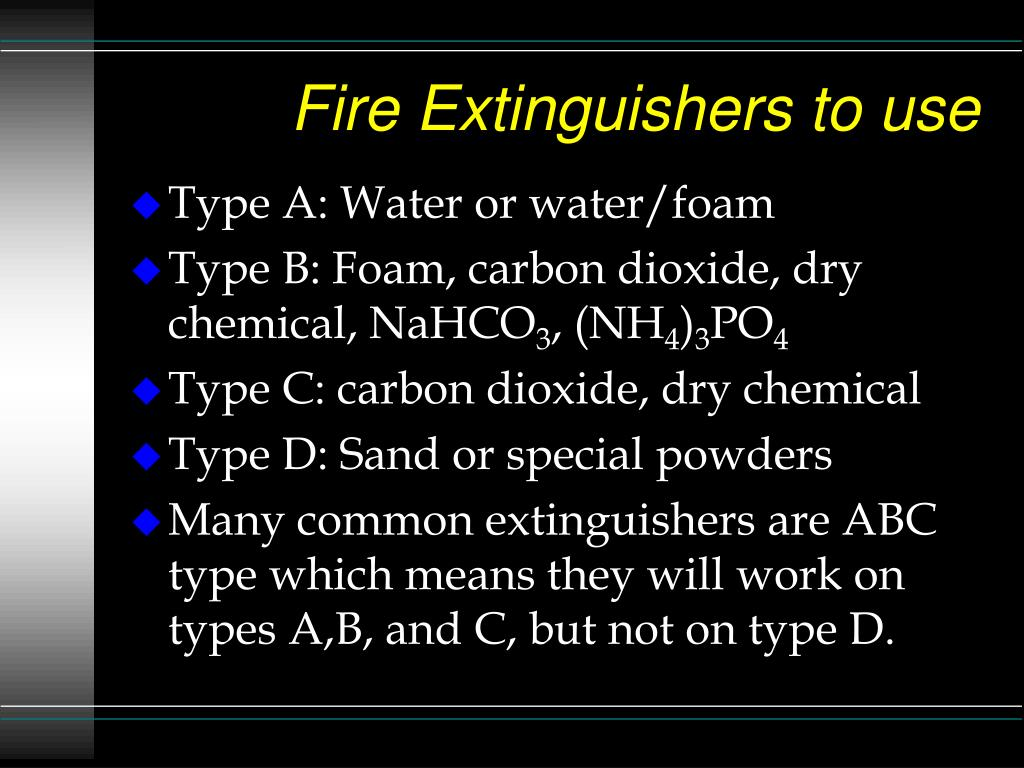 Fire Extinguishers to use