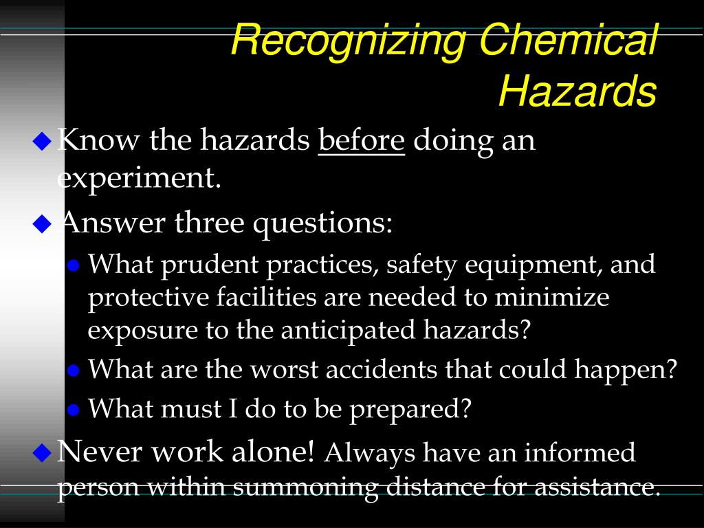 Recognizing Chemical Hazards