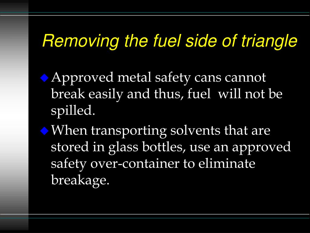 Removing the fuel side of triangle