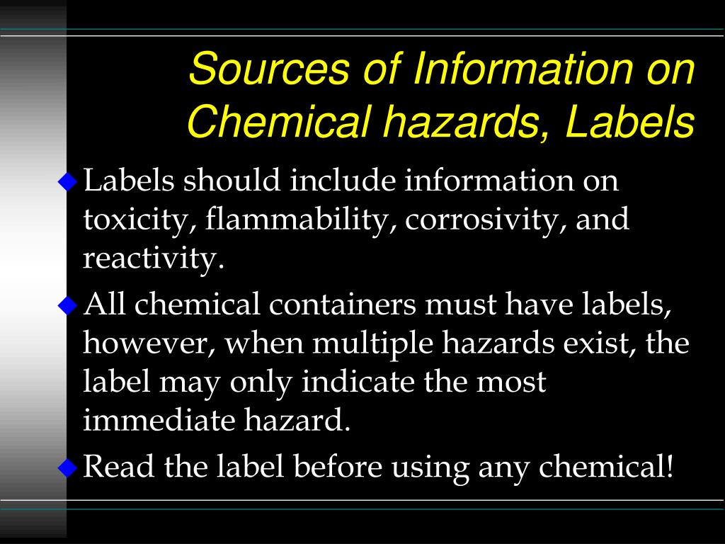 Sources of Information on Chemical hazards, Labels