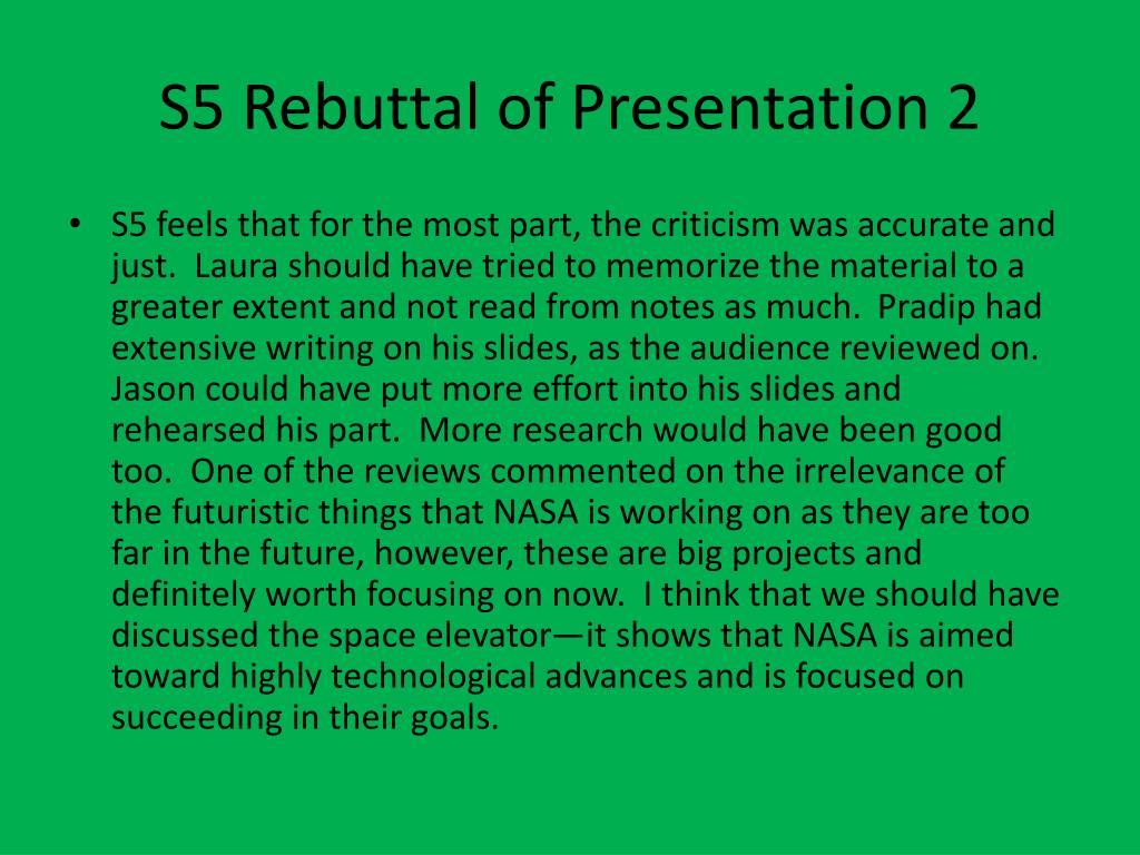 S5 Rebuttal of Presentation 2