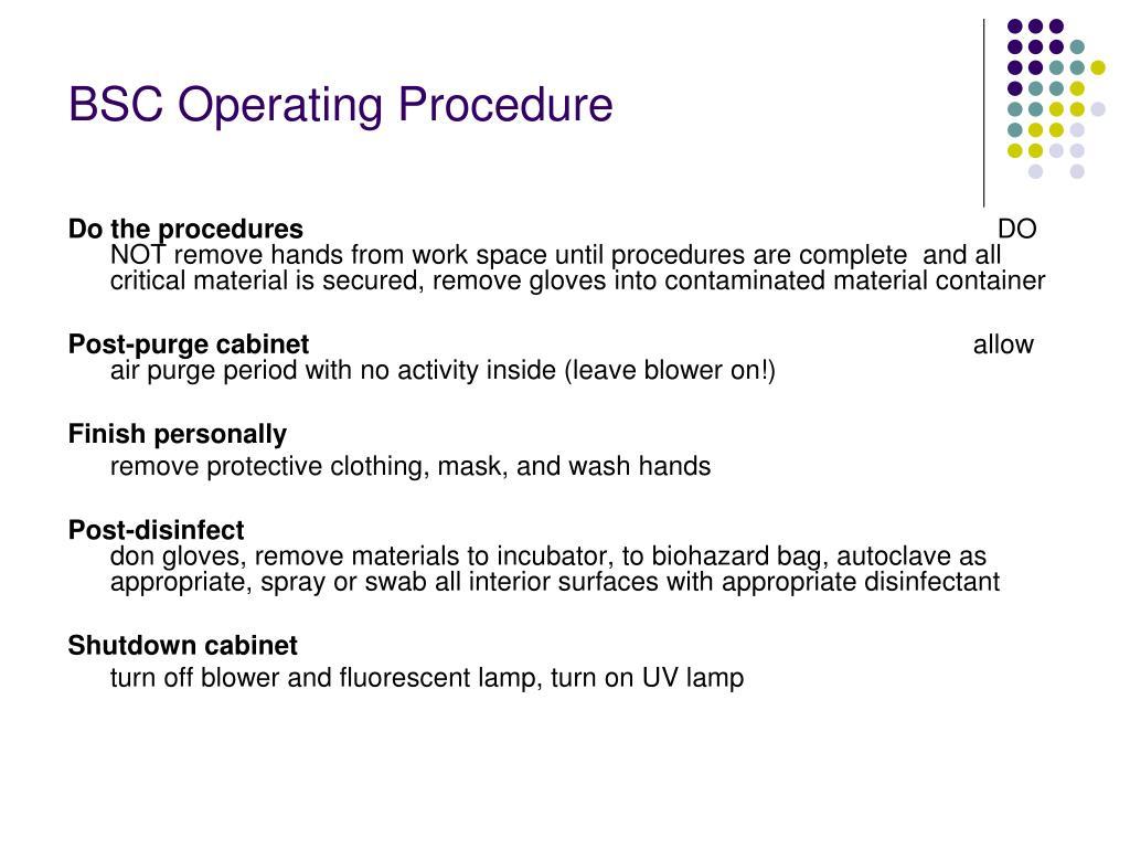 BSC Operating Procedure