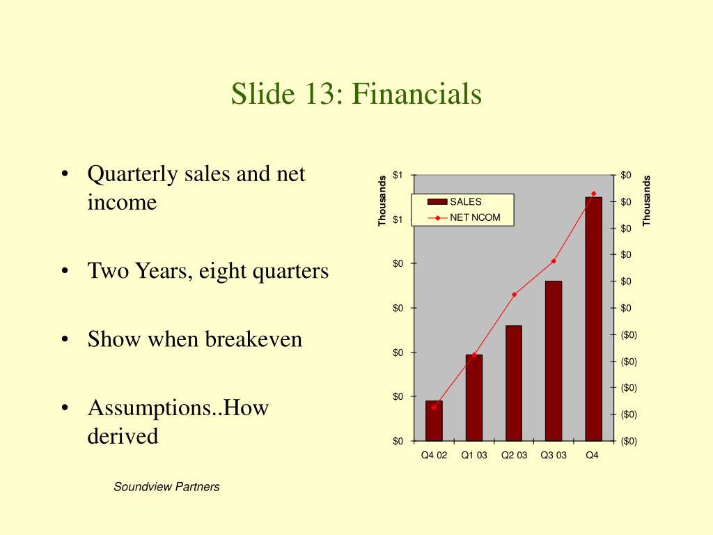 Slide 13: Financials