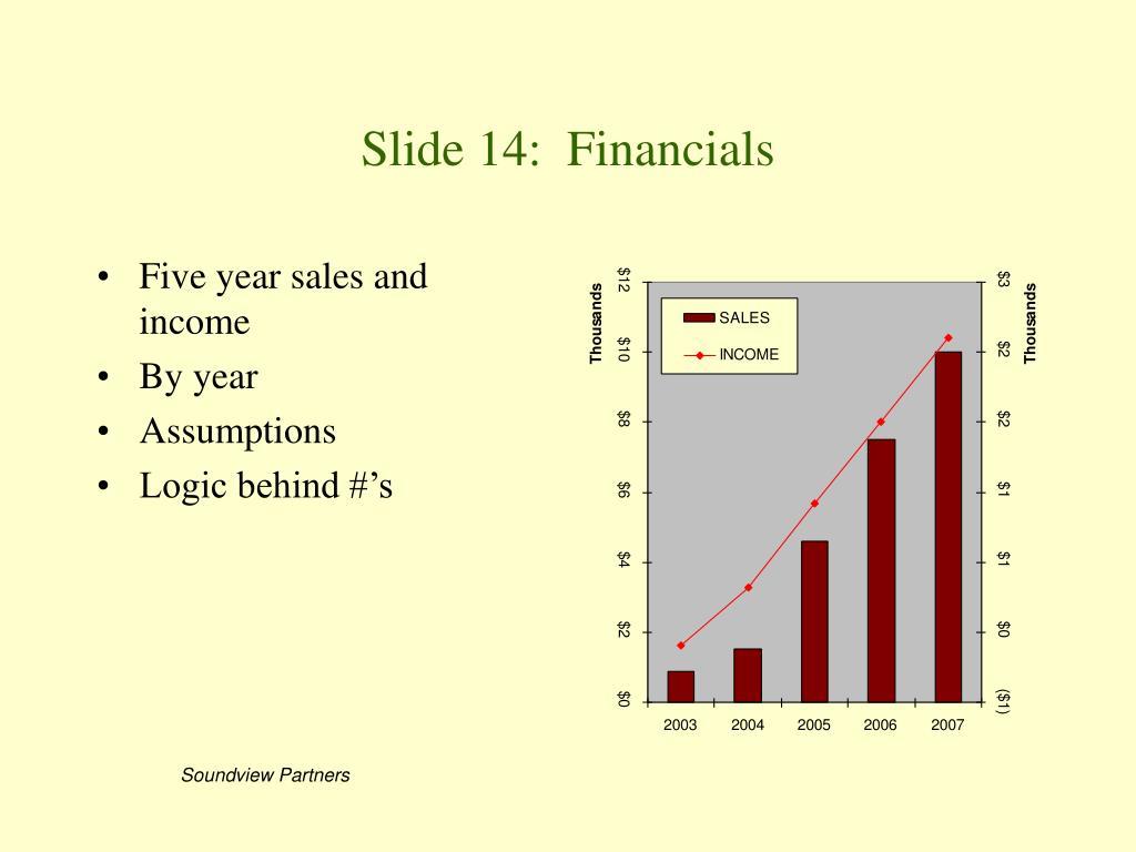 Slide 14:  Financials